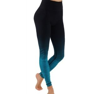 Ombré style long leggings black and teal